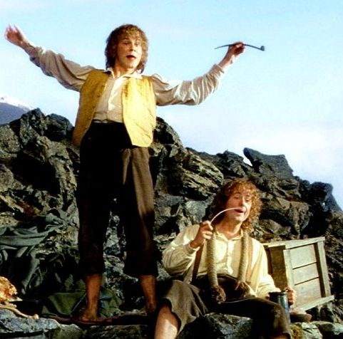 Merry and Pippin discover Saruman's stash after the Battle of Isengard.<---- this scene ALWAYS cracked me up!