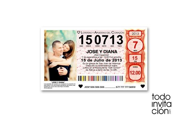 Invitación de boda billete décimo de lotería. Muy original. TODOINVITACION.COM