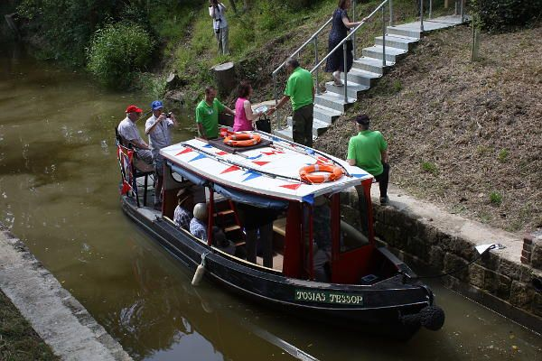 Southland Lock Opening 21st June 2014. The V.I.P's disembark from our trip boat Josiah Jessop at the tail of the lock.