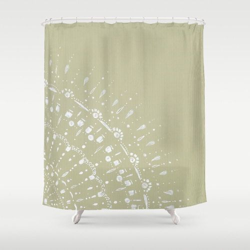 Green Grey Lace Shower Curtain neutral shower curtain by lake1221