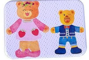 0169 <b>Wooden</b> Magnetic Puzzle <b>Bear Family Dress</b> Jigsaw Set For Kids