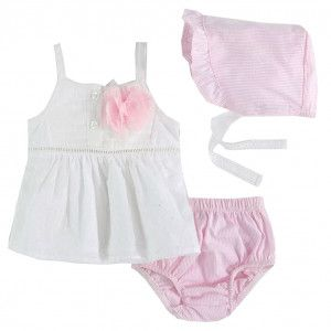 97cecf5cdae from Sophia s Style · Harry   Violet Baby Girls White Pink Flower Top  Bonnet Bottoms 3 Pc Set 3-