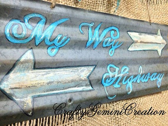Vintage Rusty Corrugated Barn Tin Sign Hand Painted by CraftyGeminiCreation, $40.00