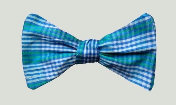 Blue, green, white silk mens bowtie  Preppy fashion, clothes, clothing, aqua    Etsy  $20.00