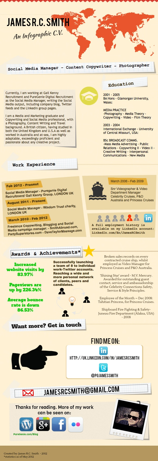 My C.V. / Resume as an infographic - http://smithabroad.files.wordpress.com/2012/05/cvinfographic.png
