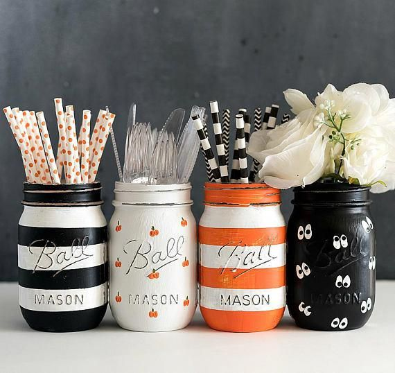 Halloween Mason Jar Set - Painted Pumpkin Mason Jar - Striped Mason Jar - Orange, Black, White