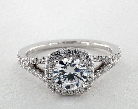 14K White Gold Split Shank Diamond Halo Engagement Ring By Martin Flyer