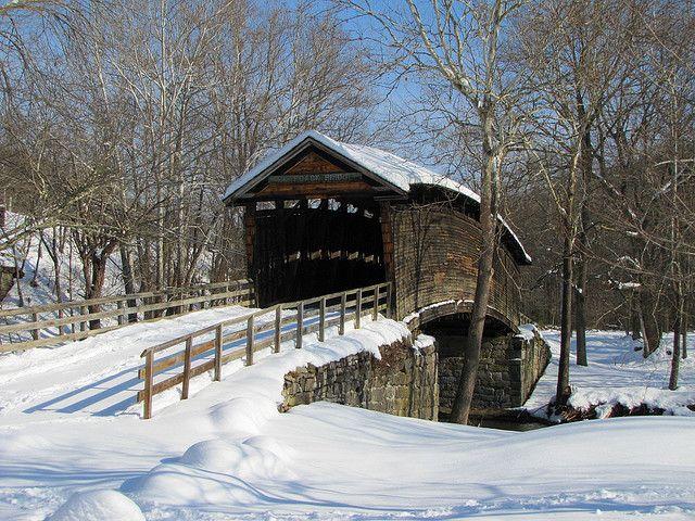 Covered bridge in winter.