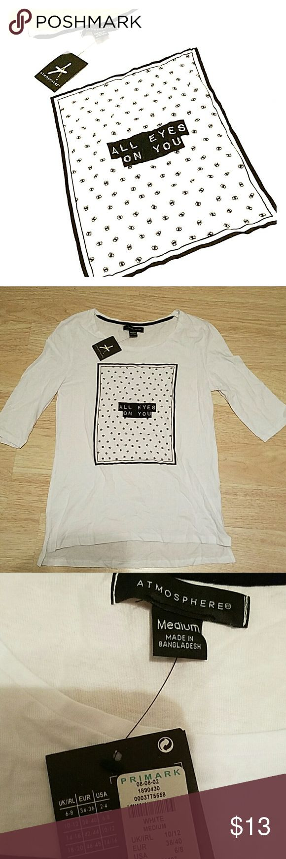 NWT Graphic Half Sleeve Size M, brand new with original tags. Adorable! Atmosphere by Primark Tops Tees - Long Sleeve