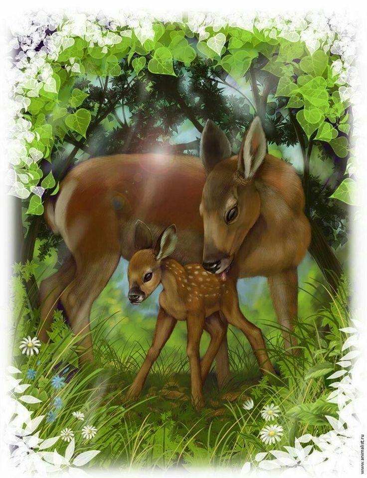 Олень и оленята рисунок