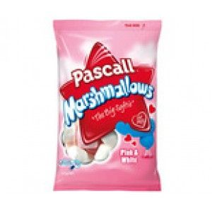 A box of 12 bags of Pink and White Pascall Marshmallow's. Delicious, soft pink and white Pascall Marshmallow's. Each bag weighs 125 grams.
