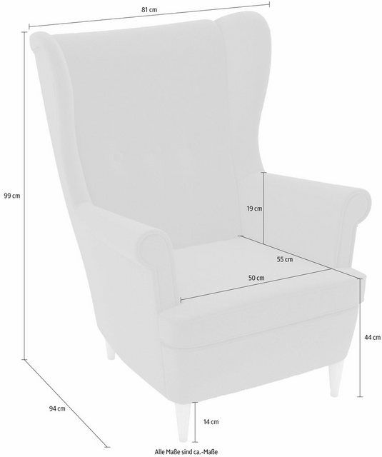 Wing chair »Casimir«, in Winchester-look, to design yourself