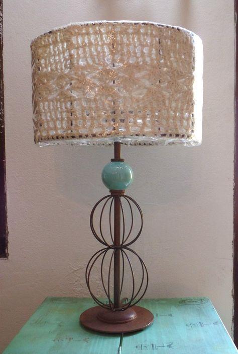 velador lampara de mesa oxido de cerámica pantalla crochet