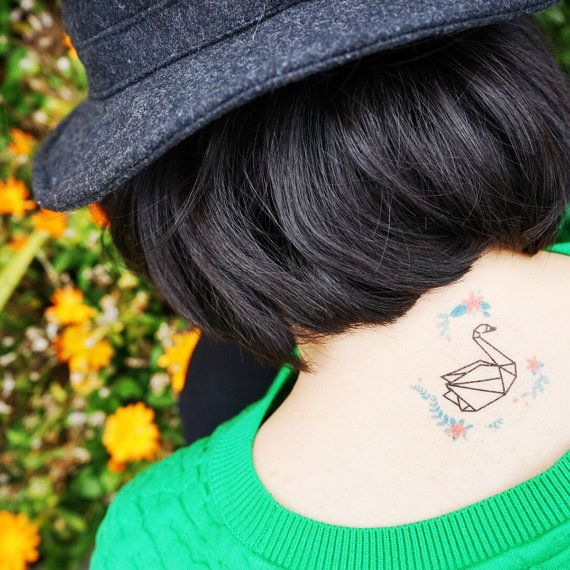 Origami Swan with Watercolour Flowers Temporary Tattoo - Set of 2                                                                                                                                                                                 Plus