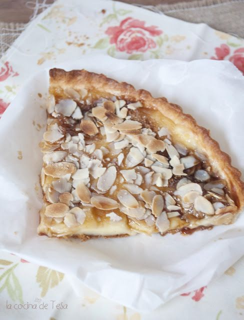La cocina de Tesa: Tarta de crema pastelera con almendras y vuelta a la realidad