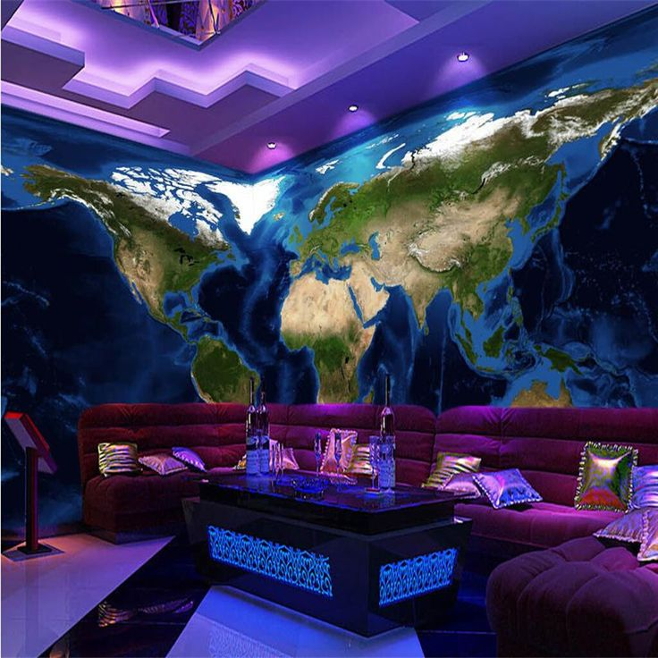 photo wallpaper silk cloth painting HD real topographic map of the world sofa decorative wall painting 3d large mural wallpaper