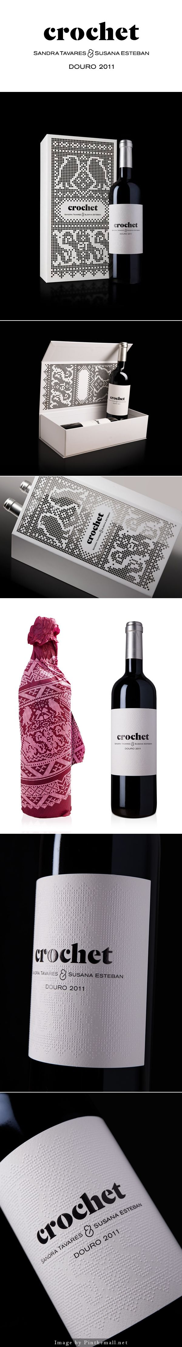 Love this crochet inspired wine packaging curated by Packaging Diva PD created via https://www.behance.net/gallery/12358909/Crochet