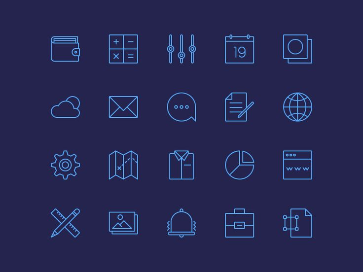 20 thin line icons