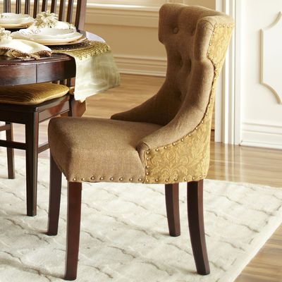Hourgl Dining Chair Gold Damask Living Area Kitchen Tufted Chairs Room