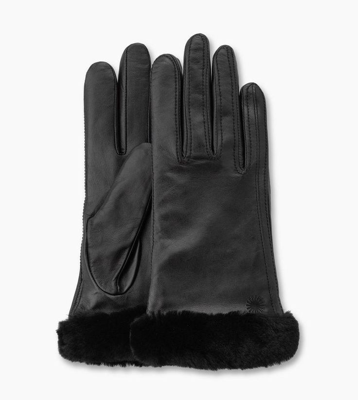 Gants UGG « Classic Leather Smart Glove » − couleur Black, taille M (110€)