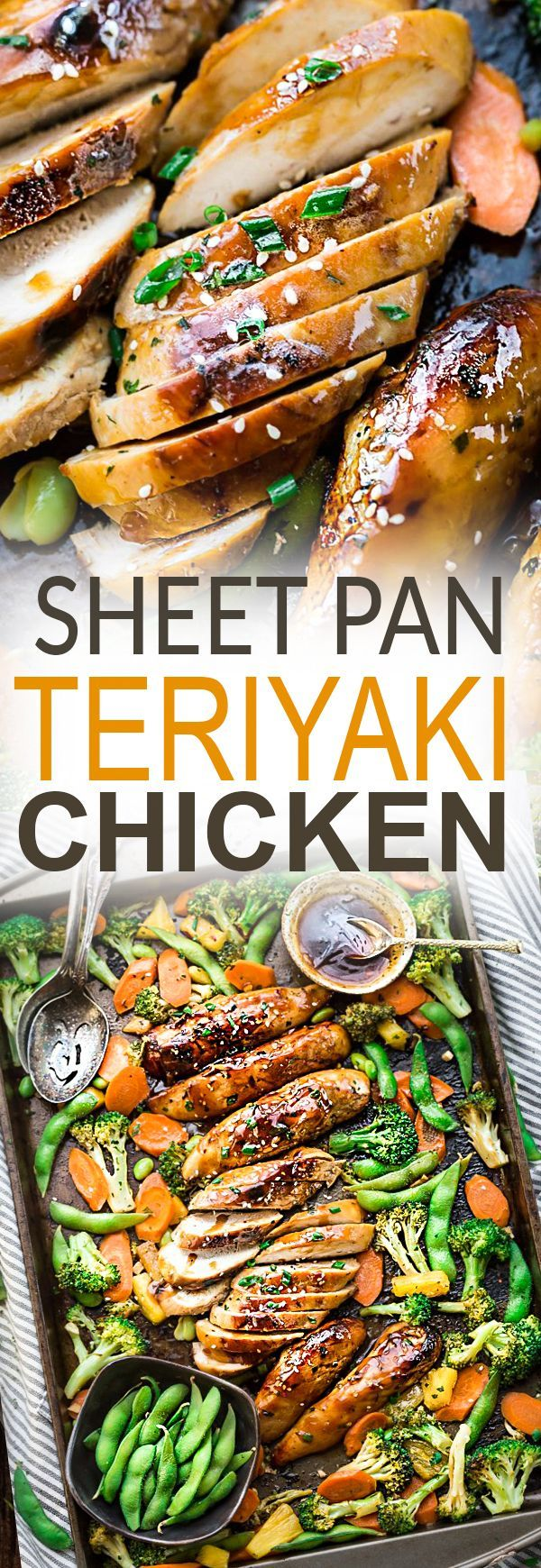One Sheet Pan Teriyaki Chicken with broccoli, carrots and edamame makes the perfect easy weeknight meal that is even better than your local Japanese takeout restaurant! Best of all, it's full of authentic flavors and super easy to customize and make with your favorite vegetables with just 10 minutes of prep time. Skip the takeout menu! This is so much better and healthier! Weekly meal prep or leftovers are great for lunch bowls or lunchboxes for work or school.
