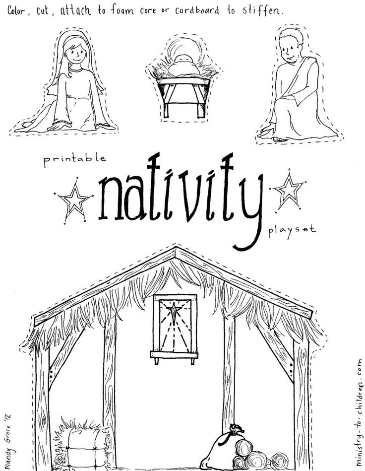 """Jesus in the Manger"""" Coloring Pages – Nativity Playset Craft"""