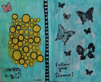 "Altered book spread. ""Follow your dreams"". / Vanhan kirjan aukeama. Aihe: seuraa unelmiasi."