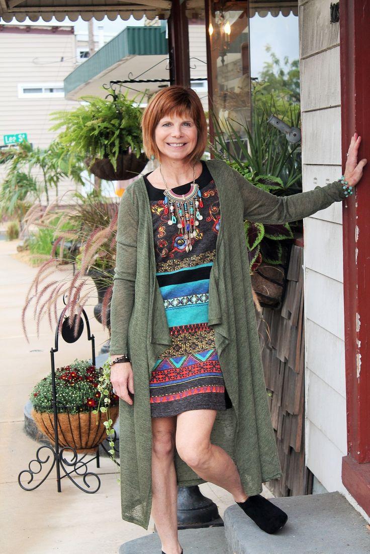Olive Mediterranean duster, Blue Mountain sweater dress, statement necklace shopurbanpearl.com