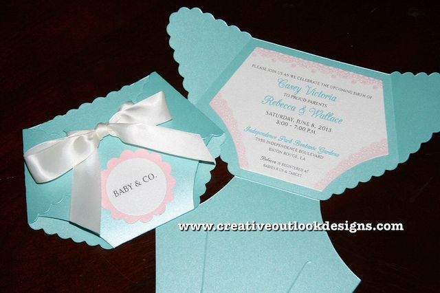Tiffany Inspired Lace Diaper Baby Shower Invitation by www.creativeoutlookdesigns.com  Price:  $3.50 each.
