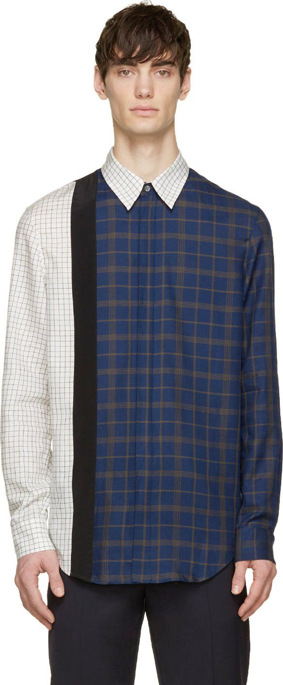 3.1 Phillip Lim Navy & White Framed Seams Shirt
