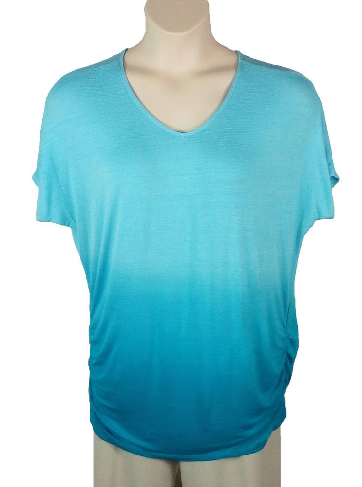 33dc0c1e9dc Womens Lane Bryant Blue Knit Top Plus Size 14 16 Short Sleeve Rayon Spandex