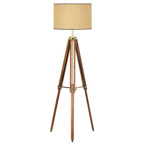 Walnut Tripod Floor Lamp from @LAMPS PLUS. Love the mix of wood and metal!