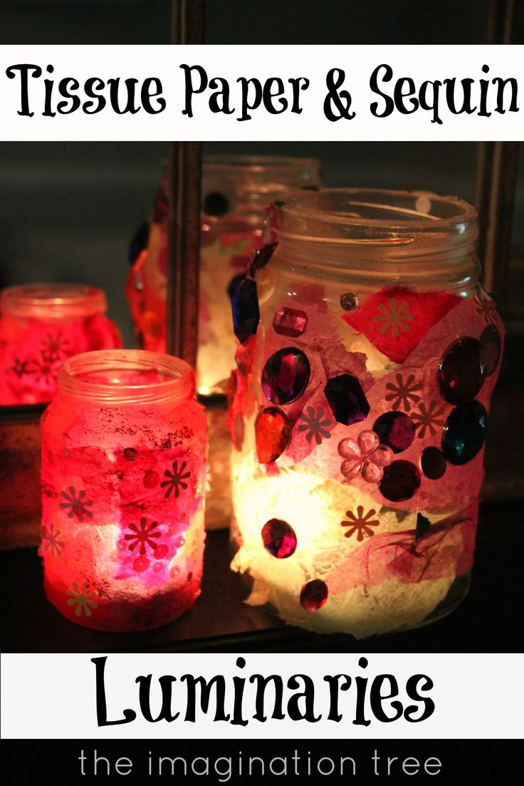 Easy Jam Jar and Tissue Paper Luminaries- beautiful for a winter's night!