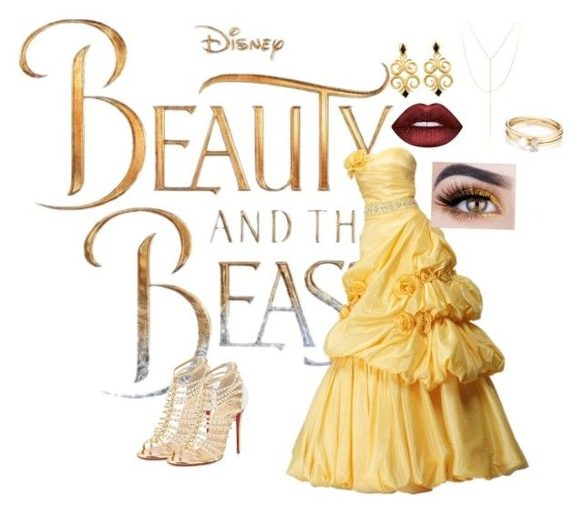 """""""Beauty and the beast, belle"""" by russell-mina on Polyvore featuring Disney, Christian Louboutin, Lime Crime, Loren Stewart and South Moon Under"""