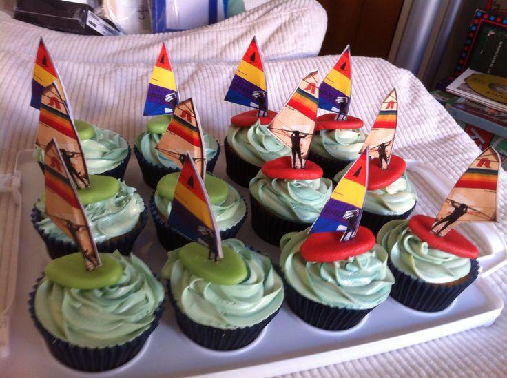 Windsurfer sailing cupcakes