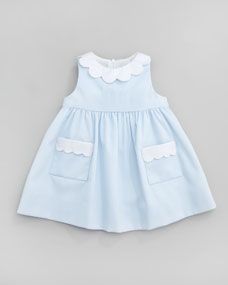Plain Scalloped Pincord Dress, Light Blue, 12-24 Months