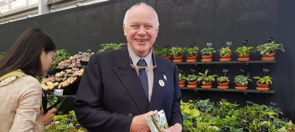 Jonathan Hogarth, of Hogarth Hostas, pictured with his display of small and miniature Hostas, at the RHS Chelsea Flower Show 2016.