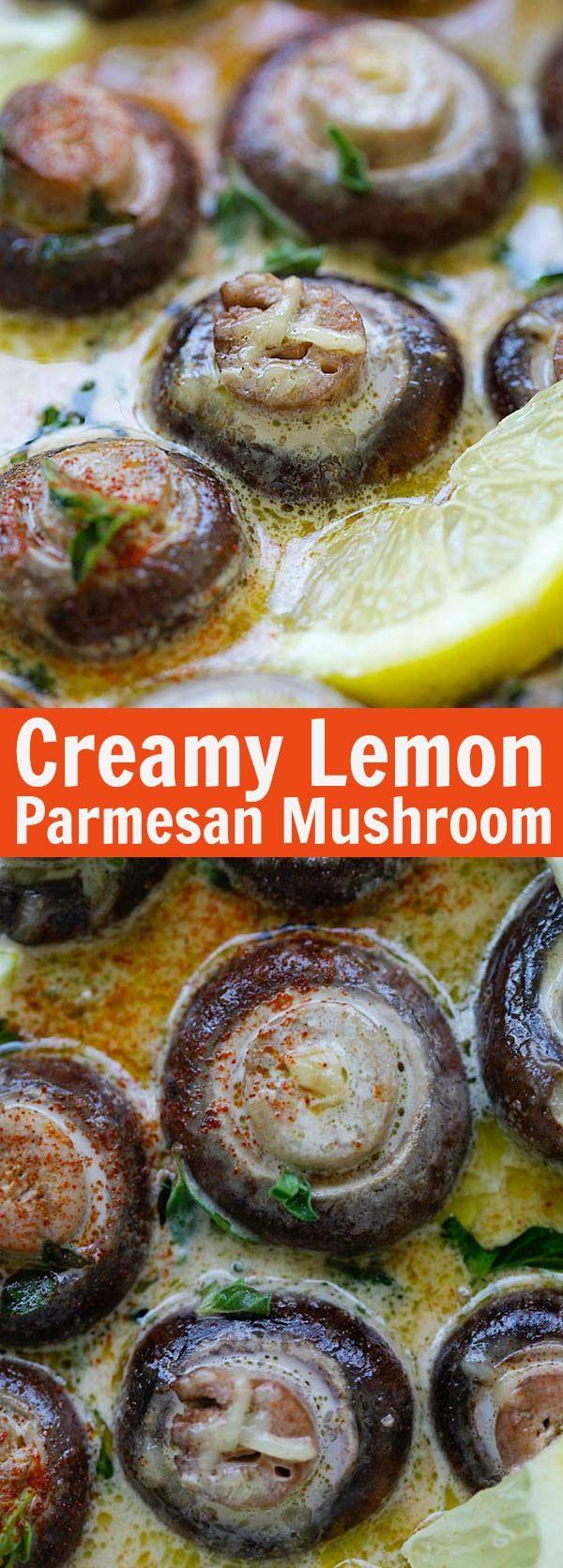 Creamy Lemon Parmesan Mushrooms – BEST mushrooms you'll ever make. Soaked in a creamy, cheesy and lemony Parmesan sauce. Perfect recipe that takes 15 mins | rasamalaysia.com