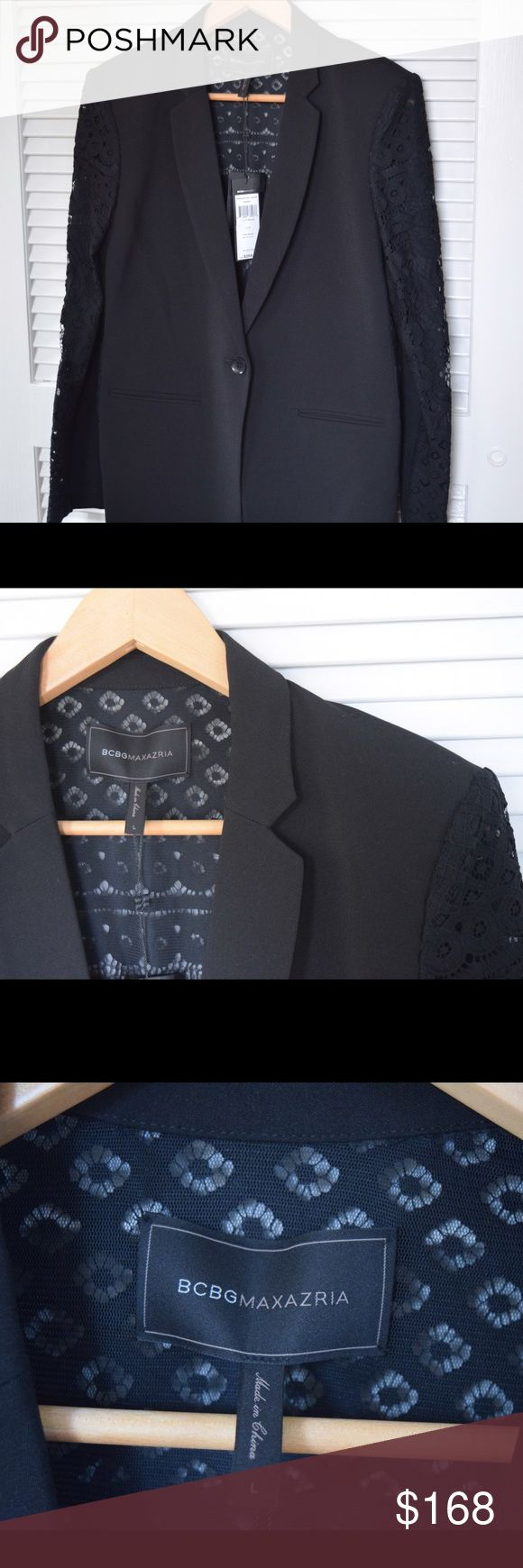 BCBG MazAzria Keanu Black Lace Blazer - NEW Sharply tailored Blazer with laced back and sleeves. One front button closure. Imported. Brand New With Tags. BCBGMaxAzria Jackets & Coats Blazers
