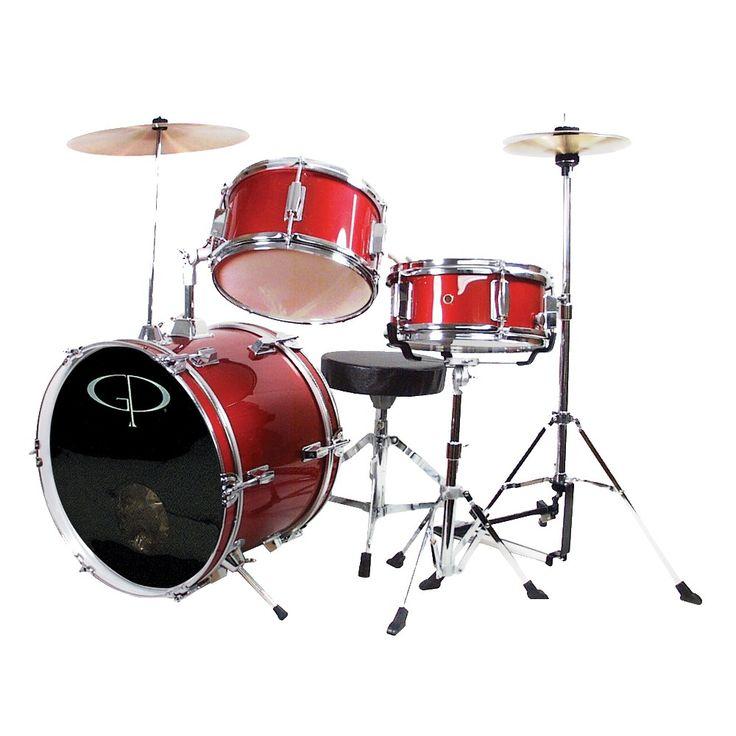 GP Percussion GP50 3-pc. Complete Junior Drum Set - Metallic Red