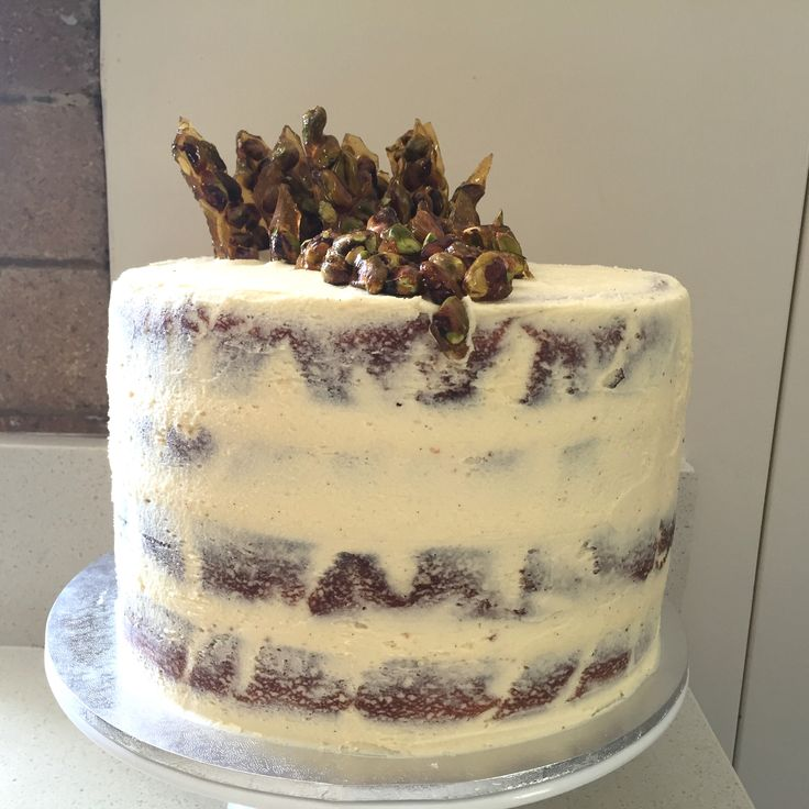White Chocolate Mud Cake with candied pistachios on top
