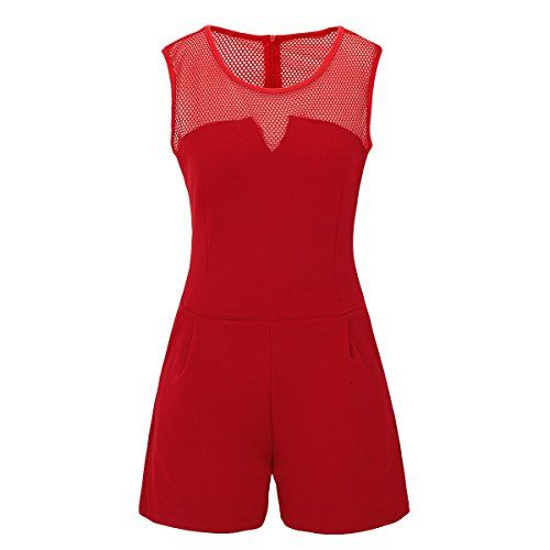442cda2fb7fc81 Laeticia Dreams Damen Overall Jumpsuit Catsuit Einteiler Kurz Ärmellos Netz  S M L XL Farbe:Rot;