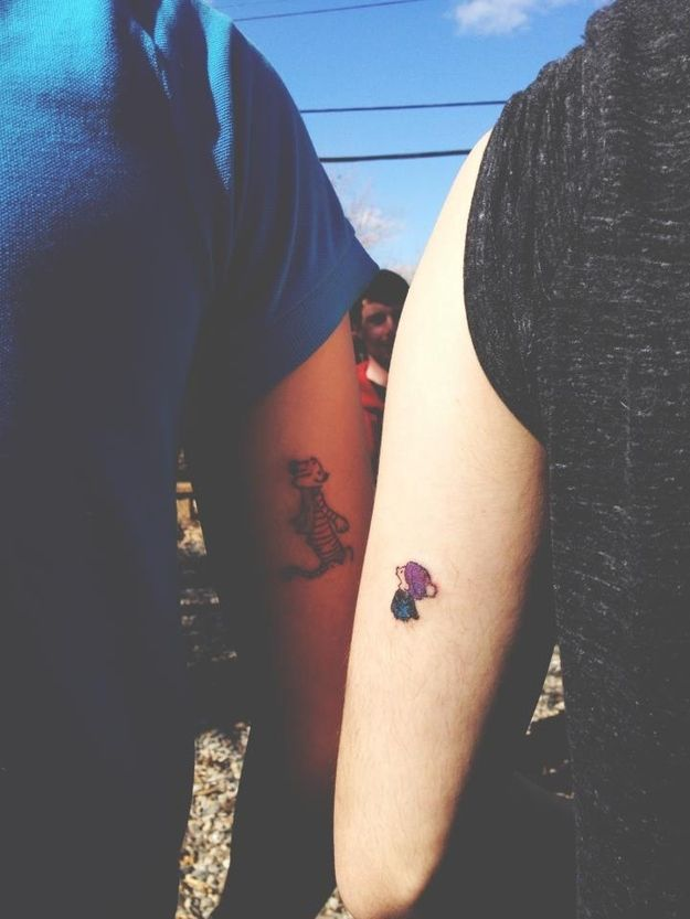 74 Matching Tattoo Ideas To Share With Someone You Love -- Calvin & Hobbes!
