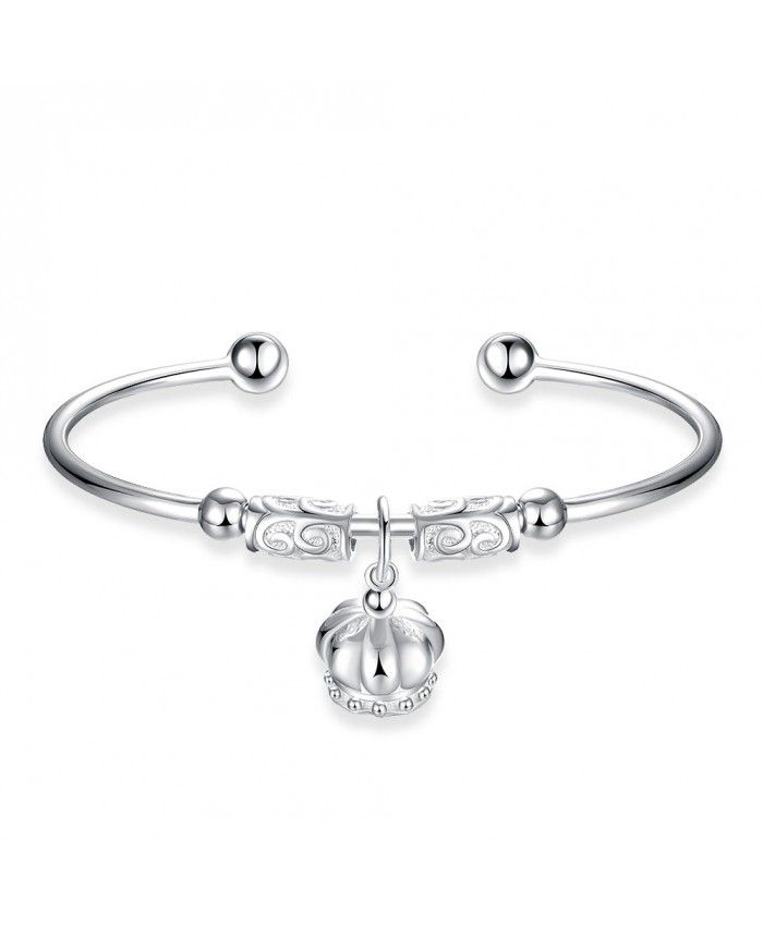 New Fashion 925 Silver Open Bracelet With Crown Pendant