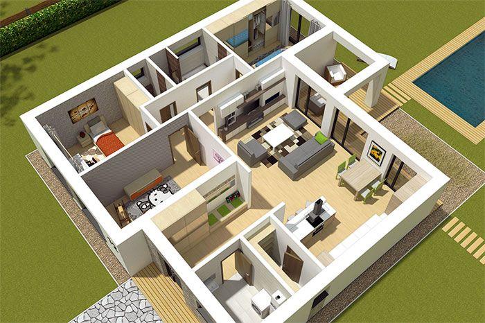 Pohľad do interiéru rodinného domu L110. / Interior of bungalow L110.