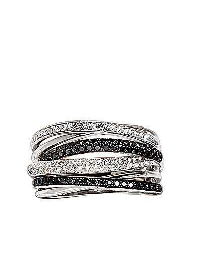 Black and White Diamond Ring in14 Kt. White Gold, .56 ct. t.w.