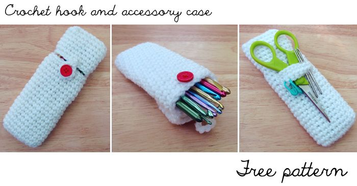 Crochet hook and accessory case - Free pattern: Free Crochet, Crochet Hooks, Crochet Pouch, Accessories Cases, Cases Free, Pencil Cases, Crochet Patterns, Crochet Cases, Free Patterns