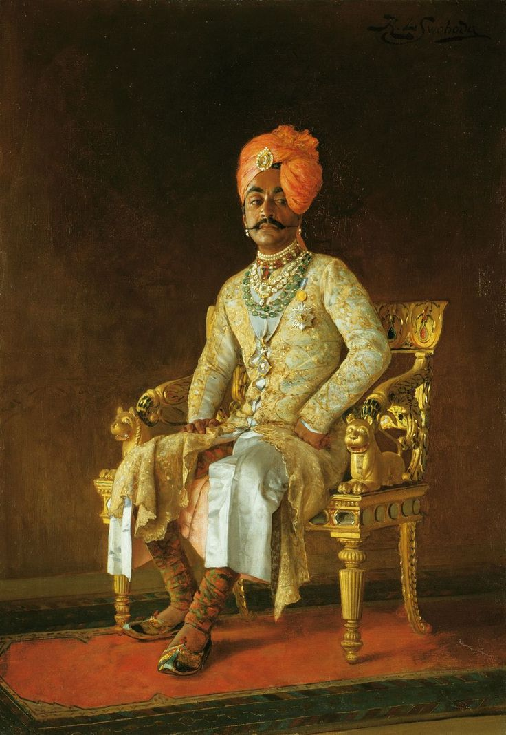 Portrait of Sir Pratap Singh (1845-1922), 1888 by Rudolf Swoboda (1859-1914) | Royal Collection Trust.....Sir Pratap Singh is wearing Durbar (court) dress and sitting on a magnificent gilded and inlaid chair. In addition to his splendid jewels, he wears the badge and star of the Star of India and the Jubilee medal.