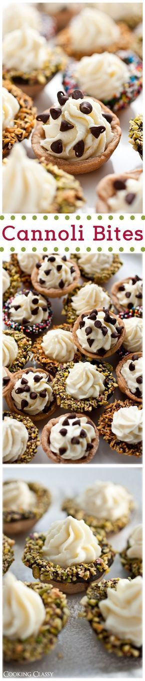 Cannoli Bites Mini Desserts Recipe via Cooking Classy - The BEST Bite Size Dessert Recipes - Mini, Individual, Yummy Treats, Perfectly Pretty for Your Baby and Bridal Showers, Birthday Party Dessert Tables and Holiday Celebrations!