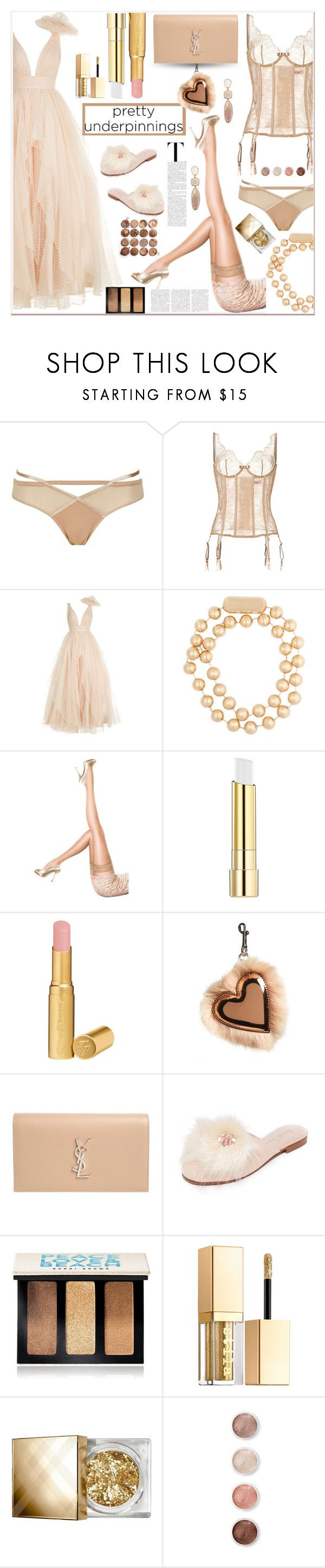 """Pretty Underpinnings"" by zouus ❤ liked on Polyvore featuring Topshop, Maison Close, Jovani, Balenciaga, Pretty Polly, Stila, Too Faced Cosmetics, STELLA McCARTNEY, Yves Saint Laurent and Alameda Turquesa"